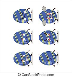 Blue easter egg cartoon character with various angry expressions