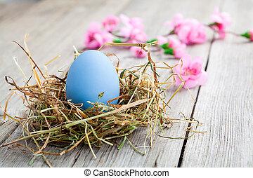 blue easter egg on wooden background