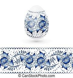 Blue Easter egg stylized Gzhel