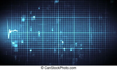 Blue ECG on moving background - Blue ECG on black and blue...