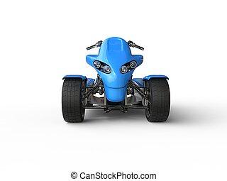 Blue eco electric quad bike -  front view