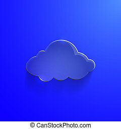 Blue eco glossy glass cloud icon vector illustration