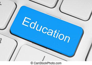 Blue education button