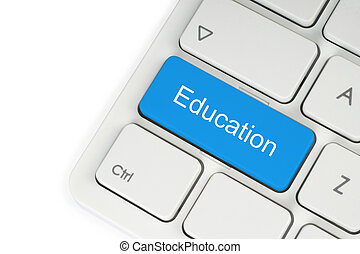 Blue education button on keyboard on white background