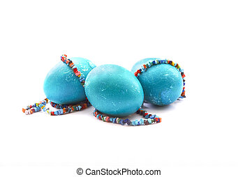 blue eggs with colour beads
