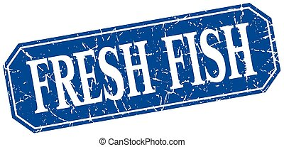 blue egyenesen, grunge, szüret, fish, elszigetelt, aláír, friss