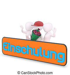 blue Einschulung letters in german