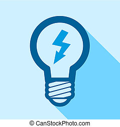 Blue electric bulb with lightning inside icon