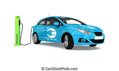 electric car - blue electric car and recharge