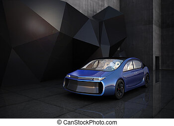 Blue electric car in front of geometric object background.
