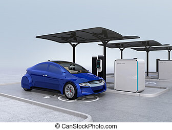 Blue electric car in EV charging station