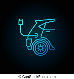 Blue electric car vector concept icon in line style - Blue...