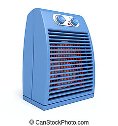 Blue electric heater on white background