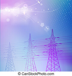 Blue electric power transmission tower. Vector illustration.