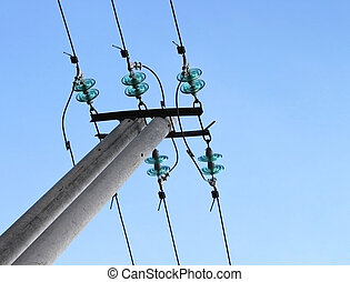 Blue electrical insulator (dielectric). High-voltage (power...