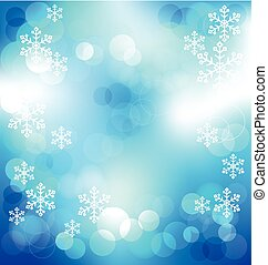 Blue elegant abstract background with bokeh lights on Christmas