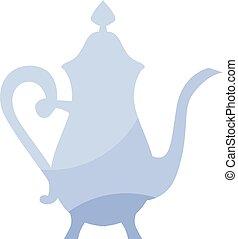 blue elegant  porcelain french vintage kettle icon. tableware symbol vector illustration. vintage antiques teapot logo
