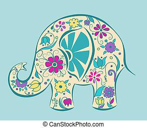 Blue elephant painted by flowers. Cartoon vector...