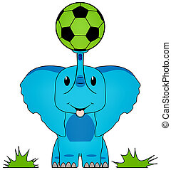 Blue Elephant with Green Soccer Ball on Trunk Isolated with Clipping Path for Sublimation or Heat Transfer Design Projects