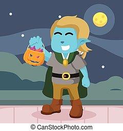 blue elf costume got candies in halloween