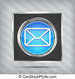 blue email button icon on the mettalic background