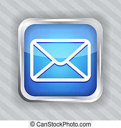 blue email button icon on the striped background