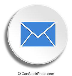 Blue email in round white button with shadow