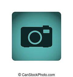 blue emblem camera icon, vector illustraction design