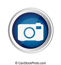 blue emblem camera icon, vector illustraction design image