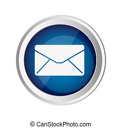 blue emblem close message envelope icon