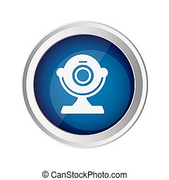 blue emblem computer camera icon, vector illustraction...