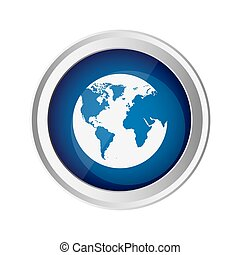 blue emblem earth planet icon, vector illustraction design