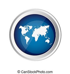 blue emblem earth planet map icon