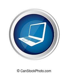 blue emblem laptop icon, vector illustraction design image