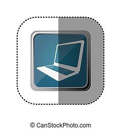 blue emblem laptop technology icon, vector illustration...
