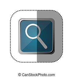 blue emblem magnifying glass icon