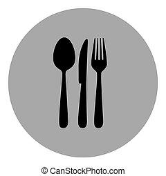 blue emblem metal cutlery icon, vector illustraction design...