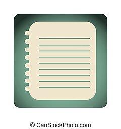 blue emblem notebook paper icon, vector illustraction design