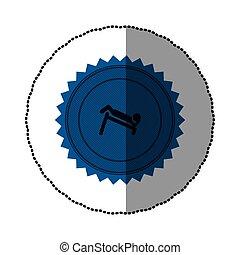 blue emblem person do exercise gym, vector illustration...