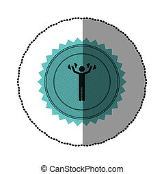 blue emblem person lifting weights gym, vector illustration...