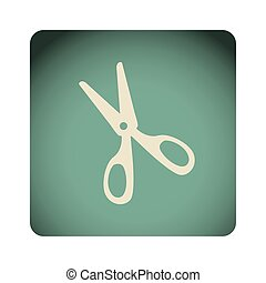 blue emblem scissors icon, vector illustraction design image