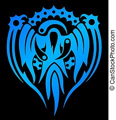 Blue emblem with magical spirit - Isolated mystical blue...
