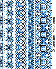 Blue embroidery borders and frames