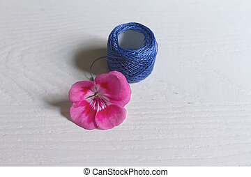 Blue embroidery thread
