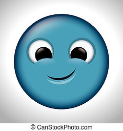 blue emoticon happy design