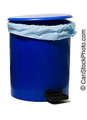 bin - blue empty bin with a plastic bag isolated against...