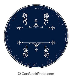 Blue empty calligraphic stamp