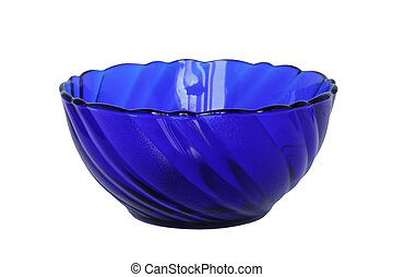 Blue empty glass bowl isolated on white.