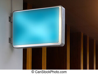 Blue empty outdoor restaurant sign mockup to add your logo design