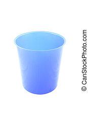 Blue empty plastic bucket on white background.
